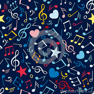 Colorful seamless pattern with music notes