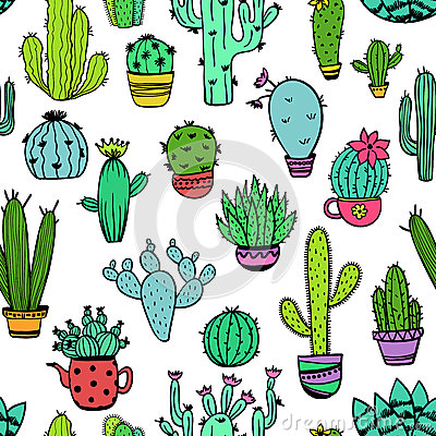 Free Colorful Seamless Pattern Of Cactus. Royalty Free Stock Photos - 92914568