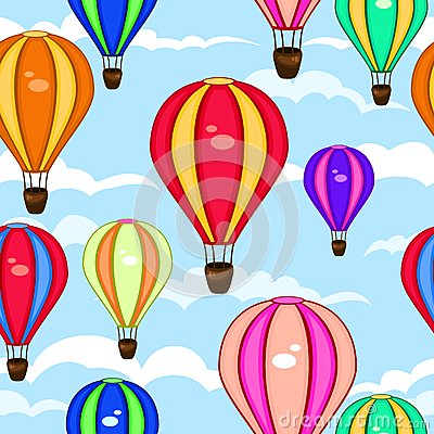 Free Colorful Seamless Pattern Of Hot Air Balloons Royalty Free Stock Photography - 44092347