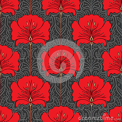 Colorful seamless pattern with red flowers