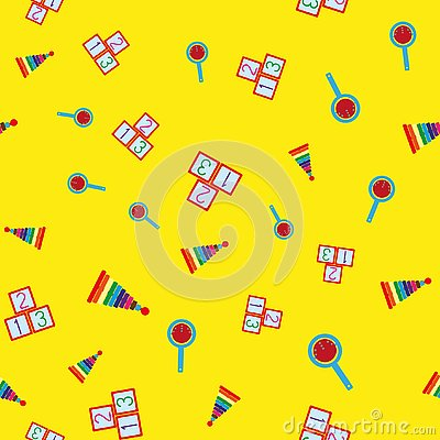 Free Colorful Seamless Pattern With Children`s Toys. Repetitive Pyramids, Rattles, Cubes With Numbers. Royalty Free Stock Image - 144445286