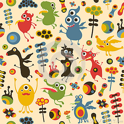 Free Colorful Seamless Pattern With Happy Monsters And Flowers. Stock Photography - 47217282