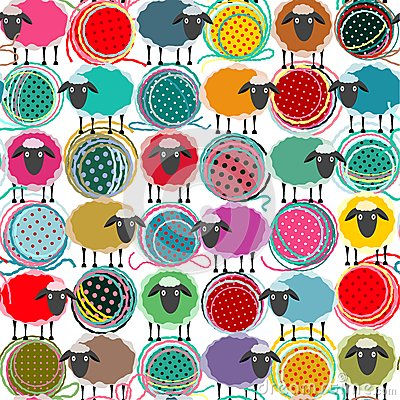 Free Colorful Seamless Sheep And Yarn Balls Pattern Royalty Free Stock Images - 47554229