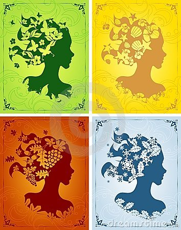 Colorful seasonal women s profiles