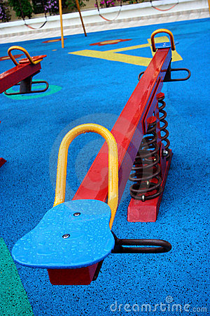 Colorful see-saw in playground
