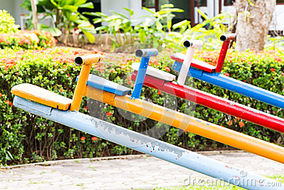 Colorful seesaw Stock Photo