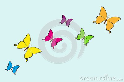 Colorful set butterfly isolated on a blue background Vector Illustration