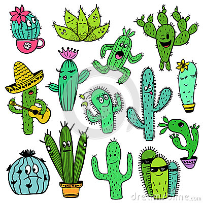 Free Colorful Set Of Funny Cactus Characters. Royalty Free Stock Photo - 92914165