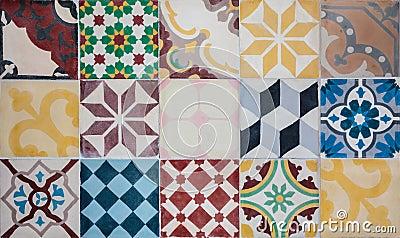Colorful set of Portuguese ornamental tiles