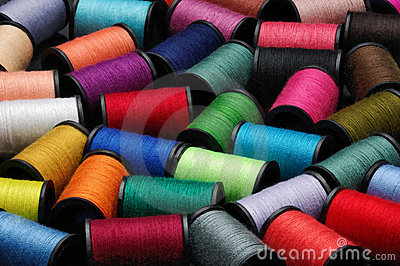 Colorful Sewing Thread Bobbin Side View