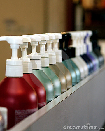 Colorful shampoo bottles