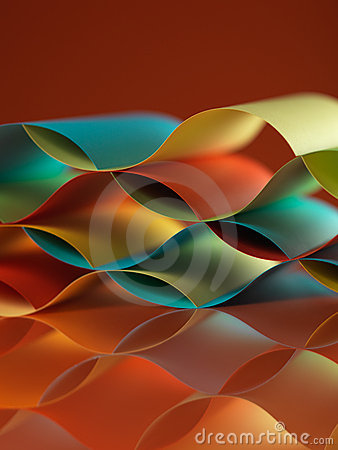 Colorful sheets paper with mirror reflexions