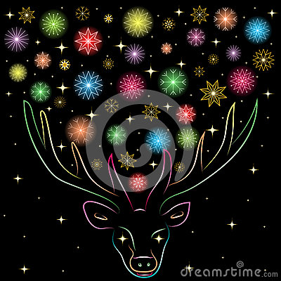 Free Colorful Shinning Snowflakes  Between Deers Horns. Hand Drawn Rainbow Colored Silhouette Of Reindeer. Perfect For Festive Design Royalty Free Stock Photos - 79791078