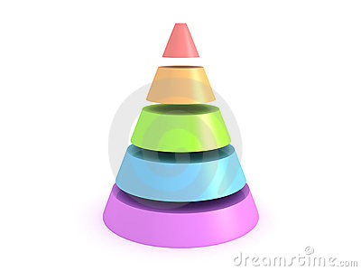 Colorful shiny cone on white background
