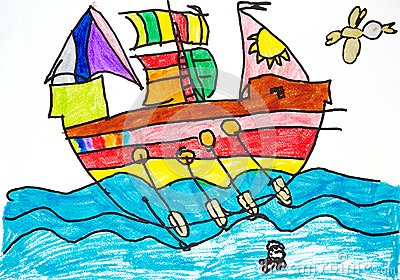 Colorful ship with oars and sails