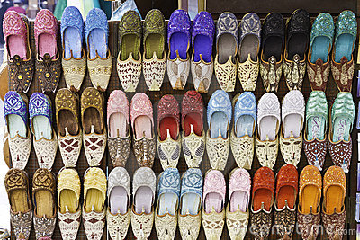 Colorful shoes in souk ,Dubai,United Arab Emirates