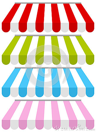 Free Colorful Shop Awnings Set Royalty Free Stock Image - 28586376