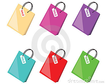 Colorful shopping bags collection, vector