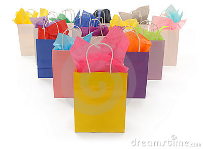 Colorful Shopping Bags on White
