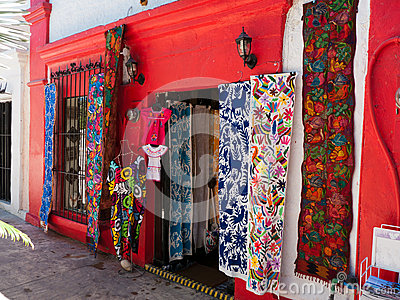 Colorful shops in small town Mexico