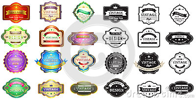 Colorful and silhouette vintage badges design with
