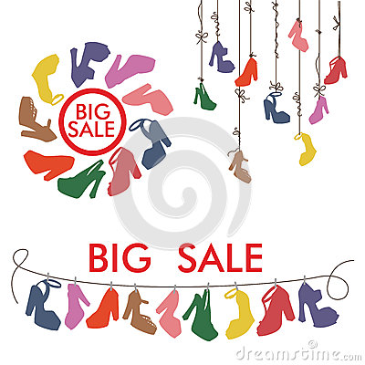 Free Colorful Silhouettes Women S High Heel Shoes.Big Sale Stock Photos - 41592013