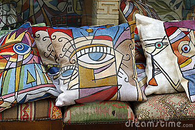 Colorful silk pillows