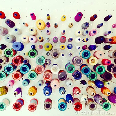 Free Colorful Silk Threads Display For Weaving Stock Images - 52107214