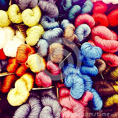 Free Colorful Silk Threads Display For Weaving Royalty Free Stock Images - 52110279
