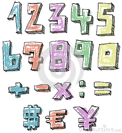 Colorful sketchy hand drawn numbers