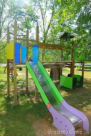 Colorful slide children park outdoor nature