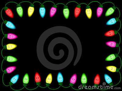 Colorful smiley christmas/party lights border