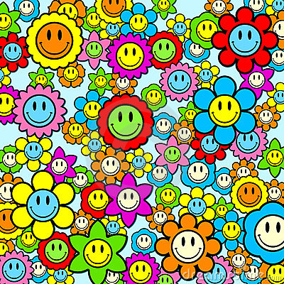 smiley background. COLORFUL SMILEY FACE FLOWER