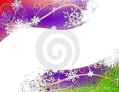 Colorful Snowflake Swoosh Border Background