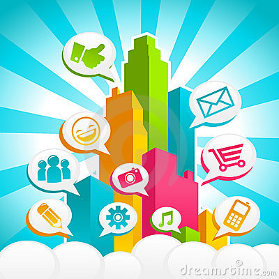 Free Colorful Social Media City Royalty Free Stock Photography - 22167057