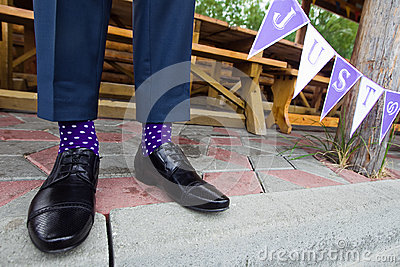 Colorful socks of groom