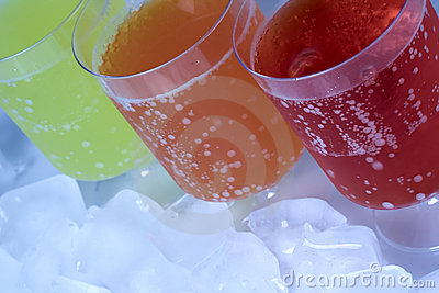 Colorful soda drinks