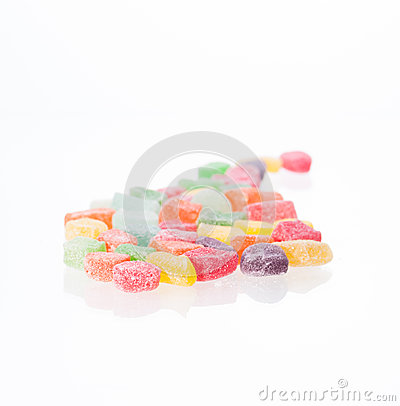 Colorful soft jellies candy close-up
