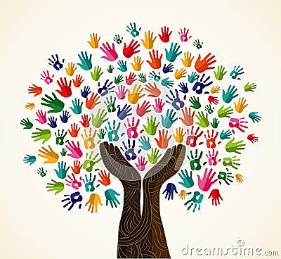 Colorful solidarity design tree Vector Illustration