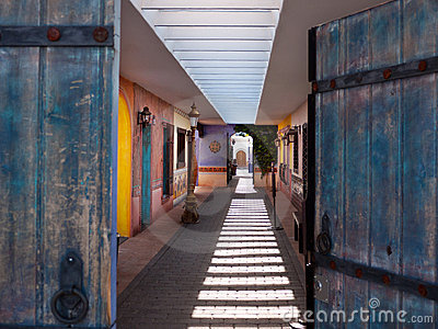 Colorful Southwestern style outdoor corridor