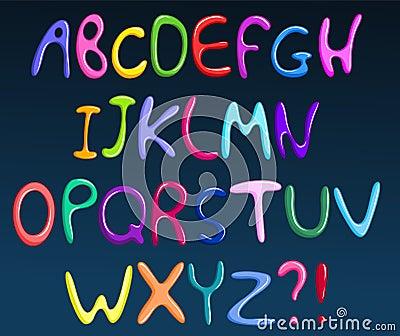 Colorful spaghetti alphabet