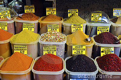 Colorful spices in Egyptian Spice Bazaar