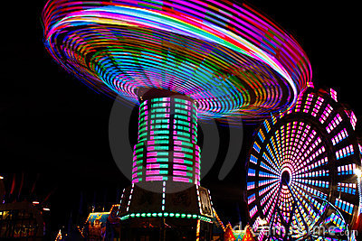 Colorful Spinning Swings, Ferris Wheel at Night