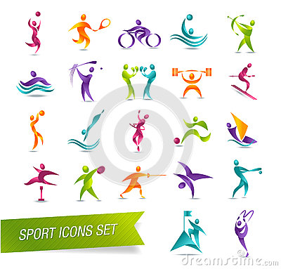 Colorful sports icon set  illustration