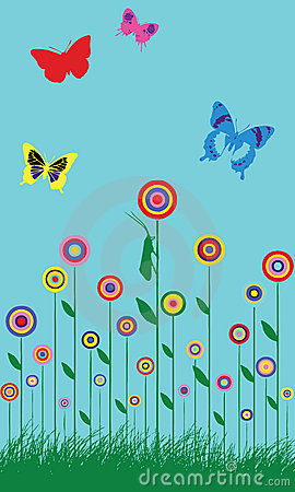 Colorful spring butterfly flowers illustration