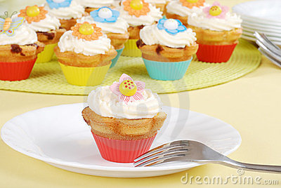 Colorful springtime cupcakes