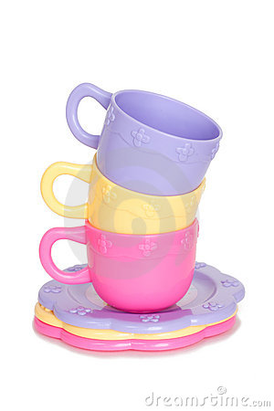 Free Colorful Stack Of Toy Cups And Toy Plates Stock Images - 13951964