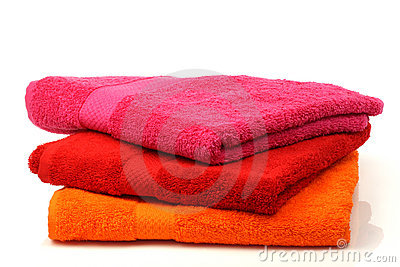 Colorful stacked bathroom towels