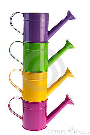 Colorful stacked watering cans
