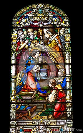 Free Colorful Stained Glass Window In St Louis Cathedral In New Orlea Stock Photo - 105244480